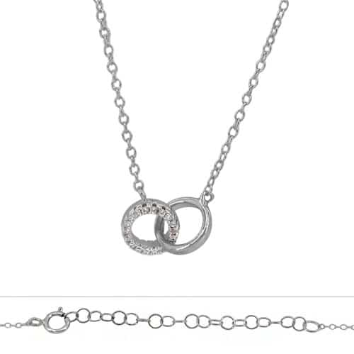 18-Inch Rhodium Plated Necklace with 4mm Topaz Birthstone Beads and Sterling Silver Saint Lucy Charm.