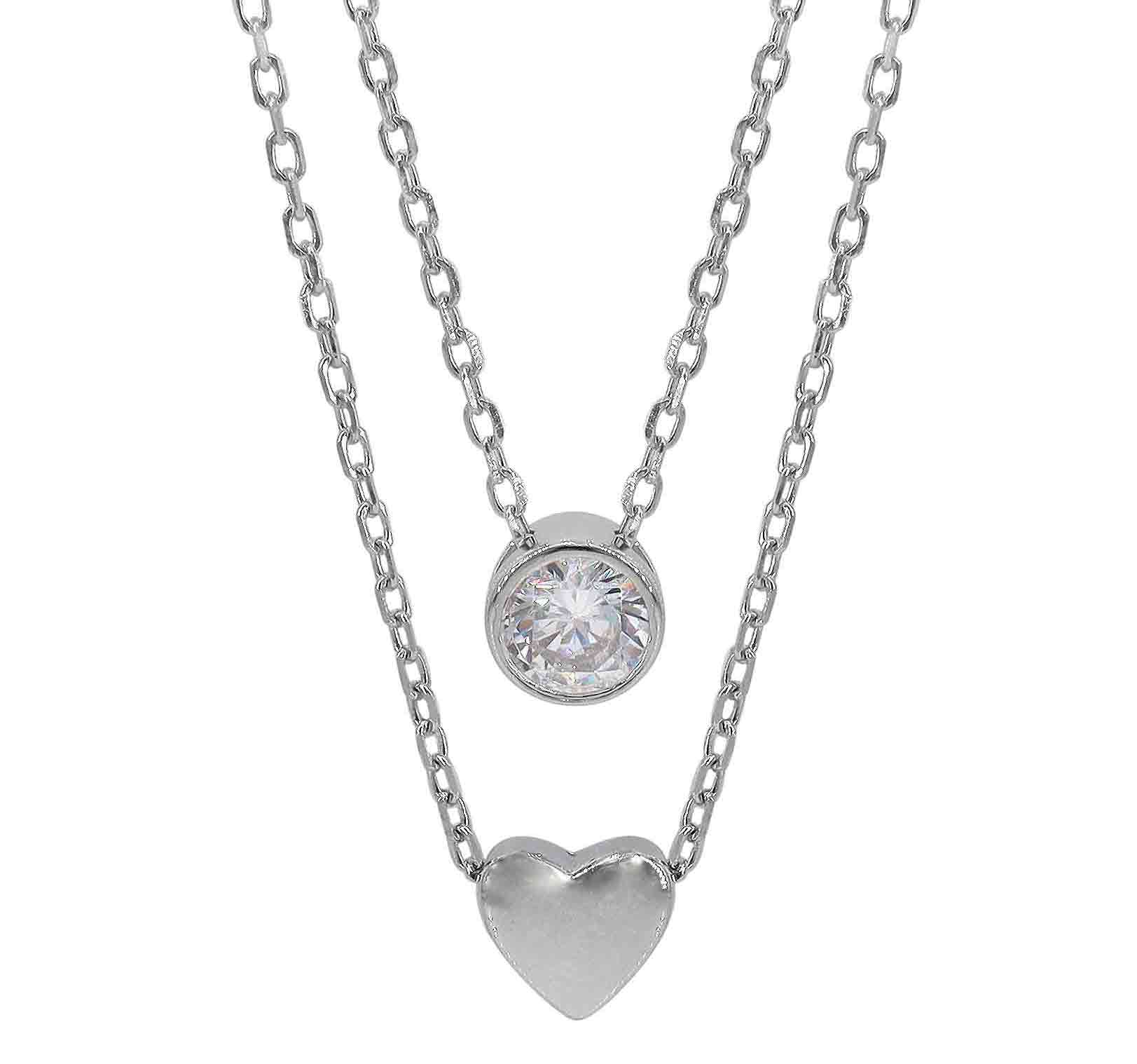 22x20MM One Love Heart Rhodium-Plated Sterling Silver Antiqued Pendant Necklace,18 CZ Two Hearts
